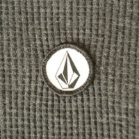 volcom logo on 3 button henley