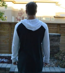 back view of the volcom 3 button henley
