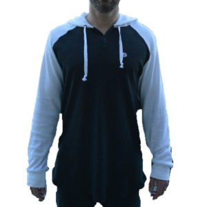 front view of the volcom 3 button henley
