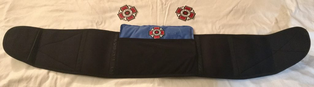 Old Bones Therapy back brace with ice pack