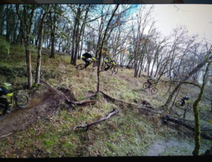 Mark Partain, ripping some dirt on his freeride bike in Oregon.